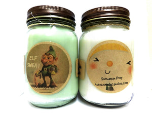 COMBO DEAL Elf Sweat and Snowman Poop Set of Two16oz Country Jar All Natural Soy Candles Novelty Candles - mels-candles-more