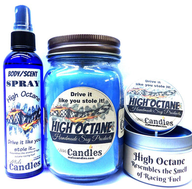 COMBO - High Octane 16oz Country Jar, 4oz Candle Tin and 4oz Bottle of Scent Spray HANDMADE Products - mels-candles-more