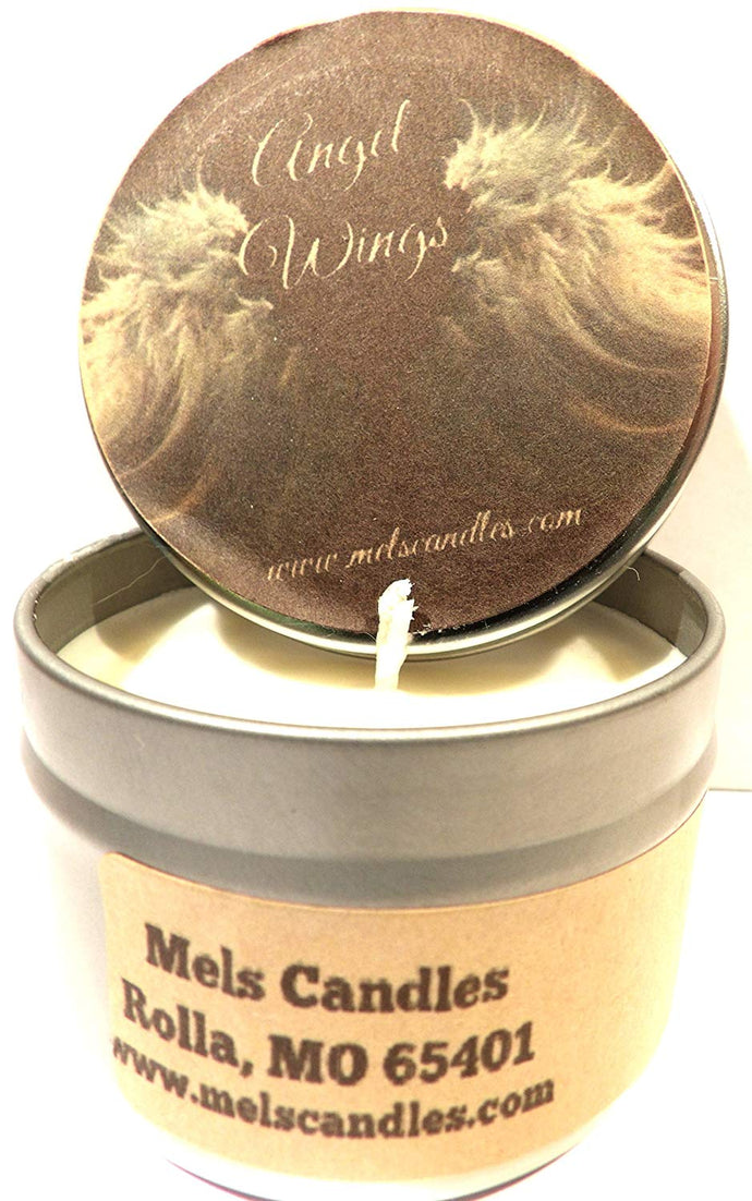 Angel Wings 4oz All Natural Soy Candle Tin Candle Handmade in Rolla Missouri - mels-candles-more