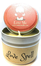Load image into Gallery viewer, Love Spell 4 Ounce 100% Soy Candle Tin - 100% Handmade - mels-candles-more
