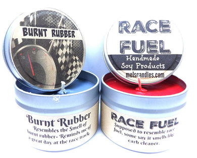 Combo - 4oz Burnt Rubber and 4oz Race Fuel Soy Candle Tins - Great Gift for Men and Race Fans - mels-candles-more