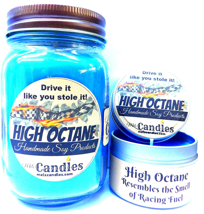 Combo - High Octane Race Fuel - 16oz Country Jar and 4oz Candle Tin Handmade Soy Candle - mels-candles-more