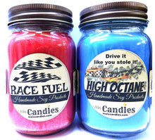 Load image into Gallery viewer, Combo - High Octane and Race Fuel Set of Two 16oz Country Jar Soy Candles Great Unique Scents for Men - mels-candles-more