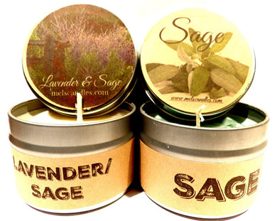 COMBO Lavender and Lavender and Sage Set of Two 4oz Soy Tin Candles - mels-candles-more