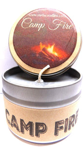 Camp Fire - 4oz All Natural Soy Candle Tin - Handmade in Rolla Missouri - mels-candles-more