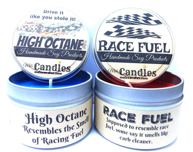 Combo Set - 4oz High Octane and 4oz Race Fuel Soy Candle Tins - Great Gift for Men and Race Fans - mels-candles-more