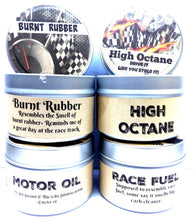 Load image into Gallery viewer, Combo Set of 4 - High Octane, Race Fuel, Motor Oil and Burnt Rubber 4 Oz All Natural Soy Candle Tins - mels-candles-more