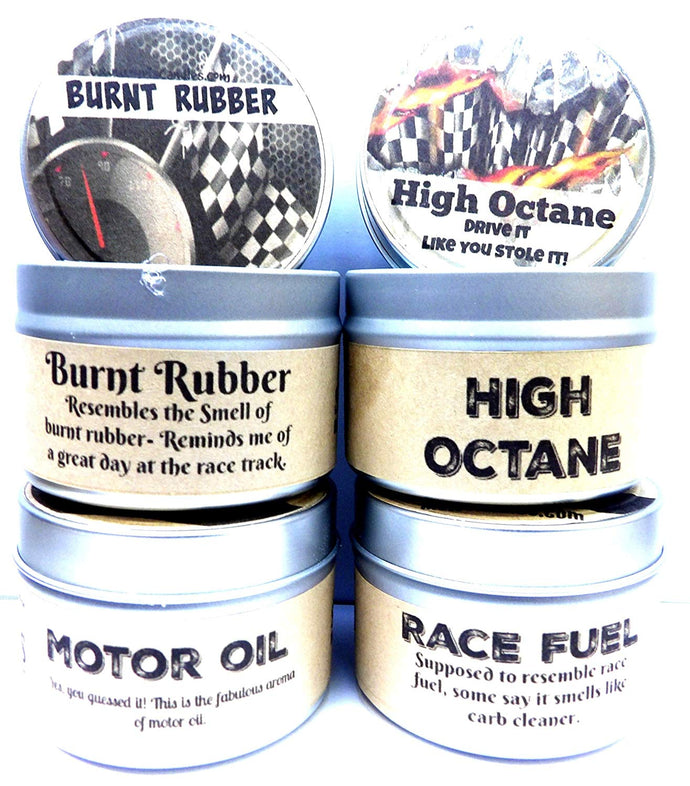 Combo Set of 4 - High Octane, Race Fuel, Motor Oil and Burnt Rubber 4 Oz All Natural Soy Candle Tins - mels-candles-more