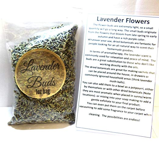 1oz Re-Sealable Bag of Lavender Buds- Perfect for DIY Products, Soap, etc - mels-candles-more