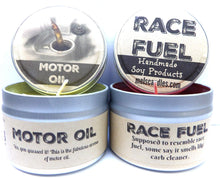 Load image into Gallery viewer, Combo - 4oz Motor Oil and 4oz Race Fuel Soy Candle Tins - Great Gift for Men and Race Fans - mels-candles-more