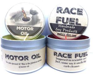 Combo - 4oz Motor Oil and 4oz Race Fuel Soy Candle Tins - Great Gift for Men and Race Fans - mels-candles-more