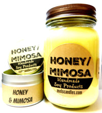 Load image into Gallery viewer, COMBO SET Honey and Mimosa - 16oz Country Jar Soy Candle and 4oz Soy Candle Tin - mels-candles-more