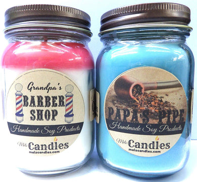Combo Barber Shop and Papa's Pipe Set of Two 16oz Country Jar Soy Candles Great Unique Scents for Men - mels-candles-more