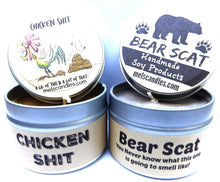 Load image into Gallery viewer, Combo - 4oz Chicken S#@t and 4oz Bear Scat Soy Candle Tins - Great Gift for Men and Gag Gifts Novelty Candles - mels-candles-more