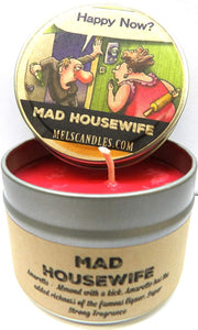 Mad Housewife 4oz All Natural Soy Candle Tin (Take It Any Where) Novelty Candle Amaretto Aroma - mels-candles-more