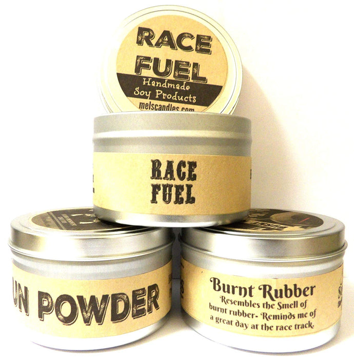 Combo - Set of 3 - Gun Powder, Race Fuel and Burnt Rubber 8 Oz All Natural Soy Candle Tins - mels-candles-more