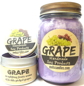 COMBO SET Grape - 16oz Country Jar Soy Candle and 4oz Soy Candle Tin - mels-candles-more