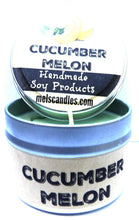 Load image into Gallery viewer, Cucumber Melon 4 Ounce Handmade Soy Candle Tin - Take It Any Where Made in USA - mels-candles-more