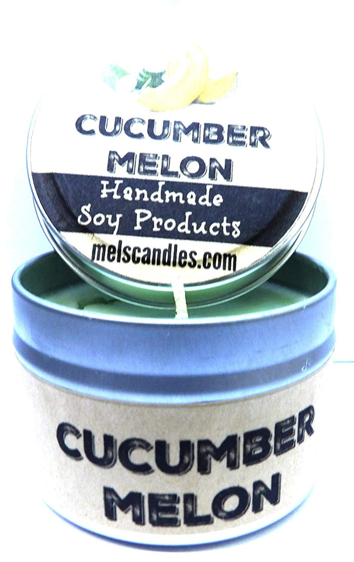 Cucumber Melon 4 Ounce Handmade Soy Candle Tin - Take It Any Where Made in USA - mels-candles-more