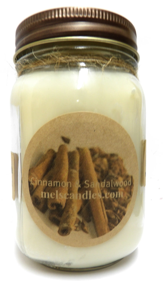 Cinnamon and Sandalwood 16 Ounce Country Jar 100% Soy Candle - Handmade in USA - mels-candles-more