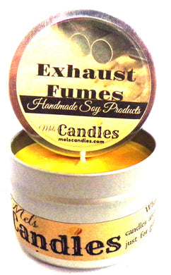 Exhaust Fumes 4 Ounce 100% Soy Candle Tin - 100% Handmade