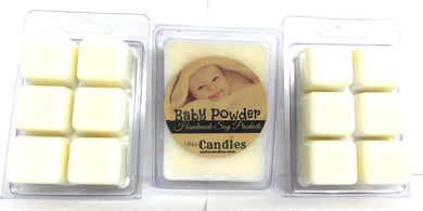 Combo - 3 Packs of Baby Powder - 3.2oz Pack of Soy Wax Tarts (6 Cubes per Pack) - mels-candles-more