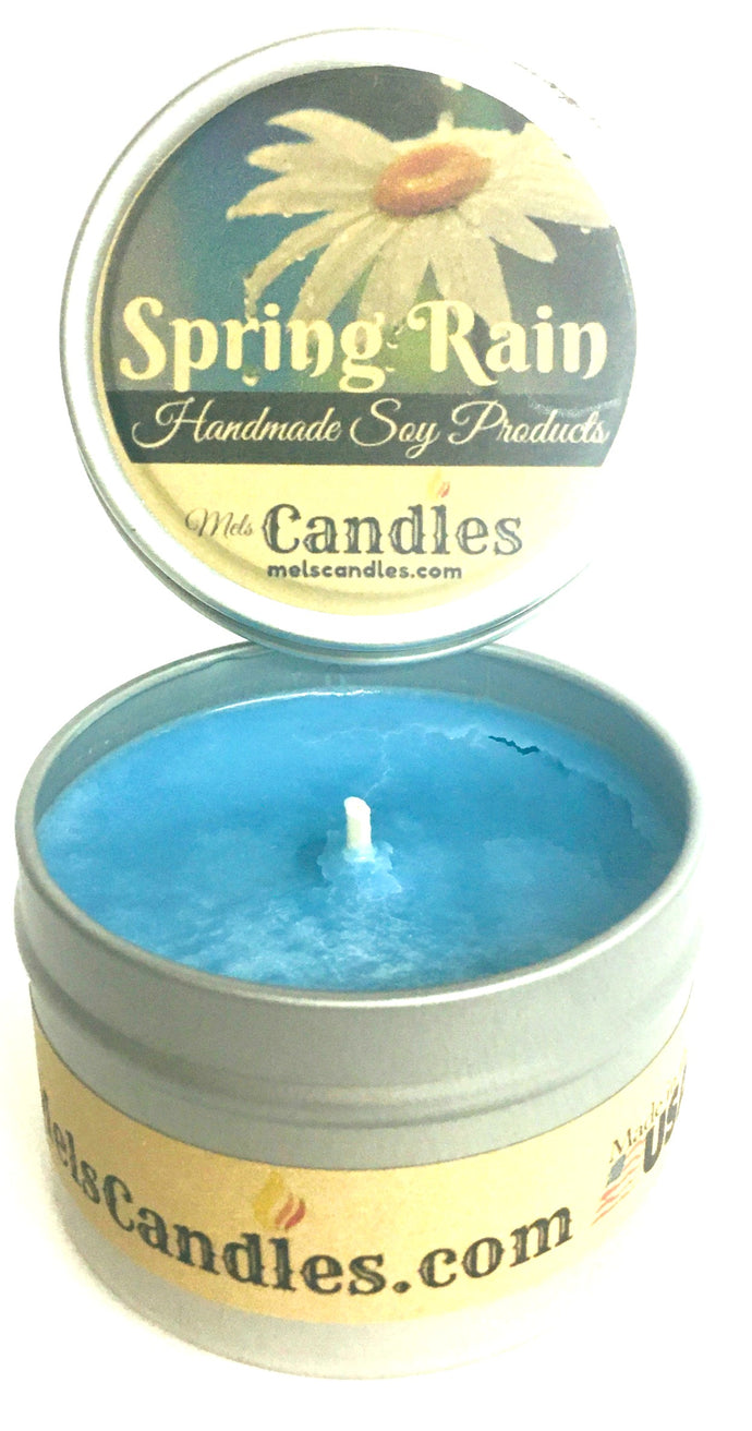 Spring Rain 4 Ounce All Natural Handmade Soy Candle Tin