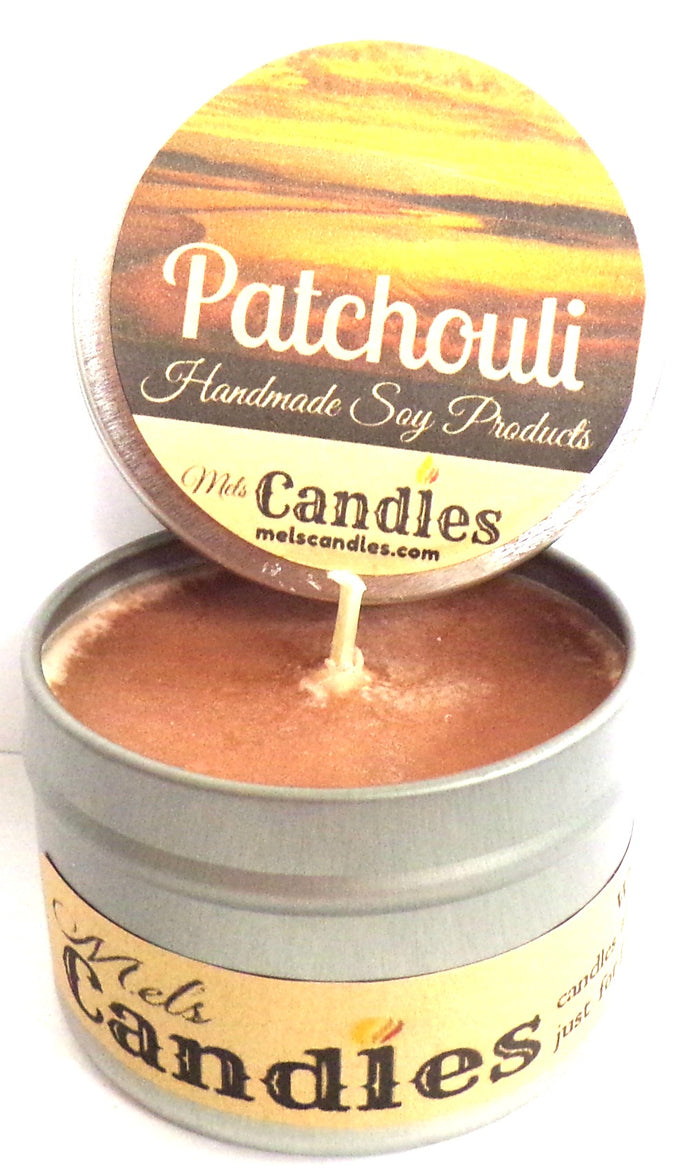 Patchouli 4 Ounce Handmade 100%  Soy Candle Tin - Made In the USA - mels-candles-more