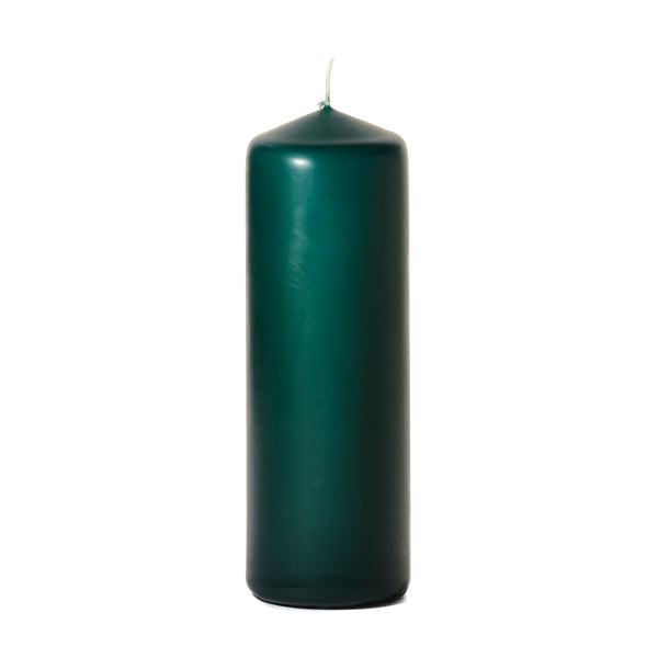 Hunter Green 3 inch x 9 inch Pillar Candle Unscented - mels-candles-more