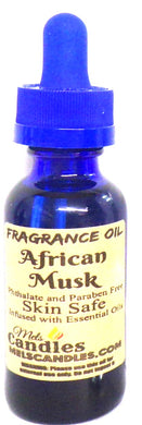 African Musk 1 Ounce / 29.5ml Blue Glass Bottle of Fragrance Oil - mels-candles-more