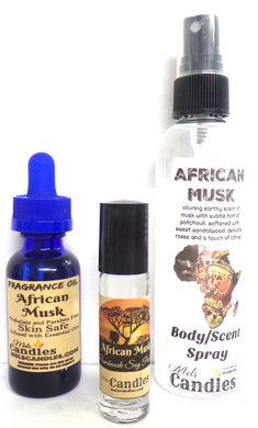 Combo African Musk  - 3 items - 4 ounce  Scent Spray, 1oz Oil And 10 Ml Roll-On Perfume Oil