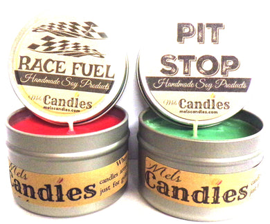 COMBO SET Race Fuel and Pit Stop 4 Ounce 100% Soy Candle Tin 100% Handmade