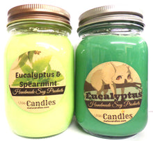 Load image into Gallery viewer, Combo Eucalyptus and Eucalyptus Spearmint 16 Ounce Country Jar Handmade Soy Candles