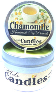 Chamomile  4 OUNCE All Natural Hand Made Tin Soy Candle - mels-candles-more