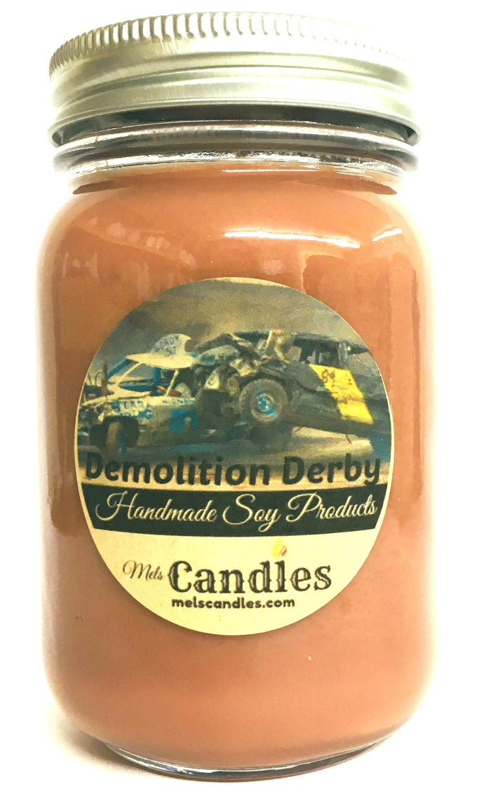 Demolition Derby 16 Ounce Country Jar Handmade Soy Candle