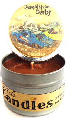 Demolition Derby 4 Ounce 100% Soy Candle Tin 100% Handmade