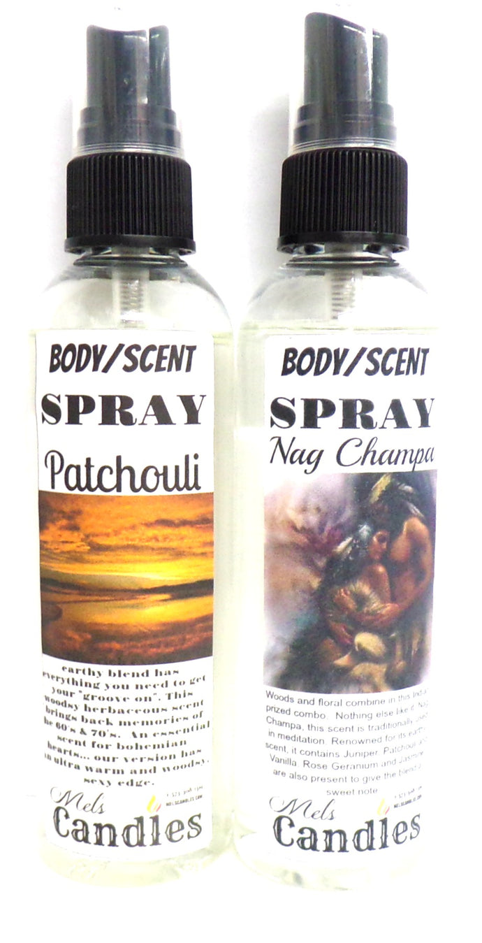 COMBO - Nag Champa and Patchouli 4 Ounce Bottles of Body Sprays