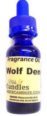 Wolf Den 1 Ounce / 29.5ml Blue Glass Bottle of Fragrance Oil - mels-candles-more