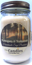 Load image into Gallery viewer, Mahogony Teak Wood 16 ounce Country Jar Handmade Soy Candle - mels-candles-more