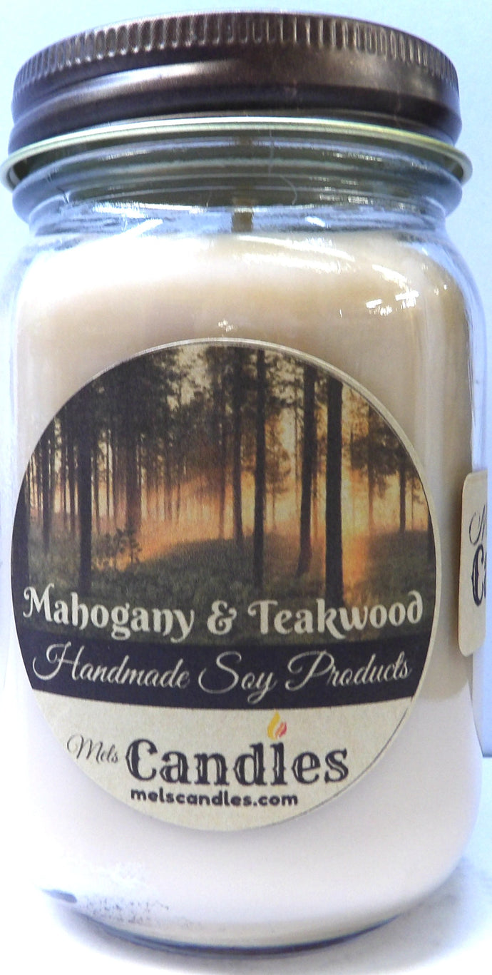 Mahogony Teak Wood 16 ounce Country Jar Handmade Soy Candle - mels-candles-more