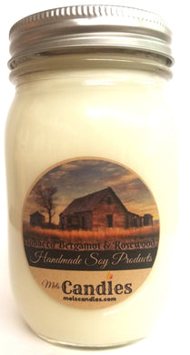 Tobacco Bergamot and Rosewood 16 Ounce Country Jar Handmade Soy Candle