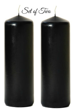 Set of Two - 3 inch x 12 inch Large Black Pillar Candles - Unscented - mels-candles-more