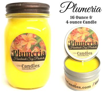 COMBO SET PLUMERIA - 16 Ounce Country Jar Soy Candle and 4 Ounce Soy Candle Tin