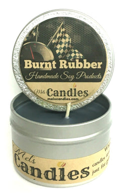 Burnt Rubber (Great for Racers) 4oz All Natural Soy Candle Tin (Take It Any Where)