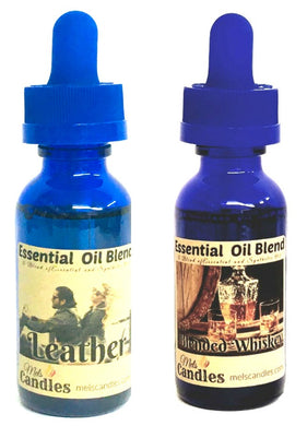 COMBO - Blended Whiskey and Leather - 1 oz GLASS Dropper Bottles of Fragrance Oil