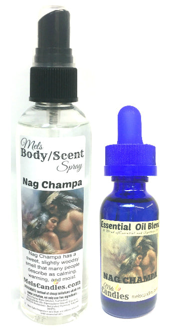 Combo Nag Champa 4 ounce Bottle of Scent Spray and 1 ounce bottle of essential oil blend