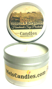 Tobacco and Bergamot 4 Ounce Handmade Soy Candle Tin