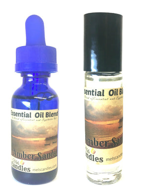Combo Set - Amber Sands 1 Ounce Bottle of Essential Oil Blend & 1 Glass Roll on Bottle of Perfume Oil