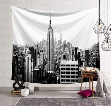 Buildings Black and White Tapestry, Wall Hanging, Home Decor