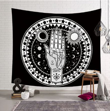 Hand in Circle Black and White Tapestry, Wall Hanging, Home Decor